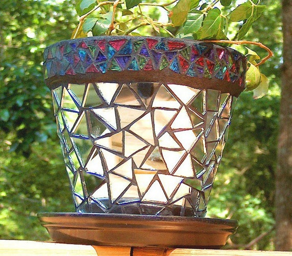 Mirror Mosaic Flower Pot - Retro
