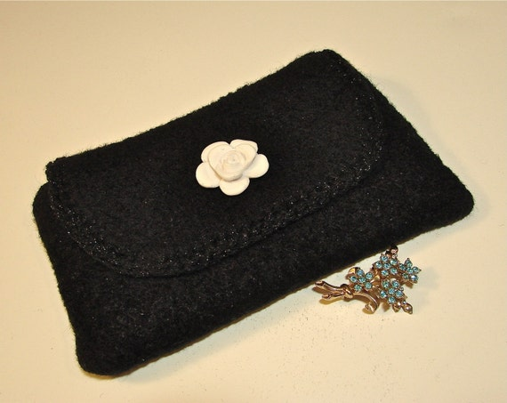 Dressy black felted wool clutch-evening bag