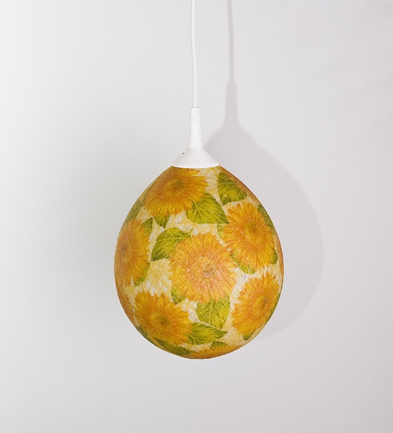 Handmade lamp, lamp shade, pendant light, ceiling, Contemporary design floral interior accent Sunflowers by FiligreeCreations on Etsy