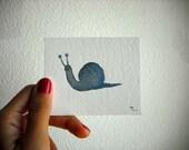 Original Watercolor Tiny Snail
