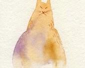 Puffy Cat-ORIGINAL Watercolor Painting
