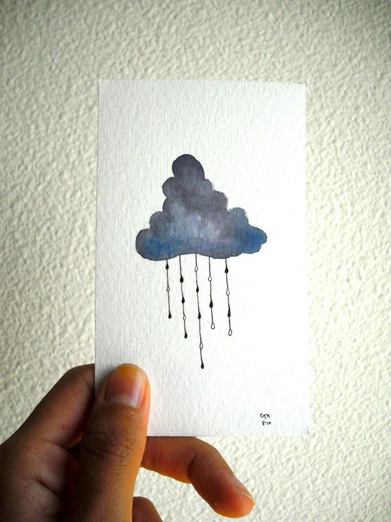 Original Watercolor Rain Cloud with Droplets