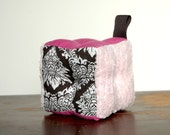 Baby Block Damask Plush Crinkle Toy, Pink, Violet, Black and White
