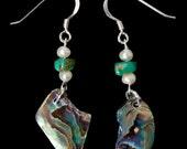 Paua Shell, Turquoise and Pearl Earrings