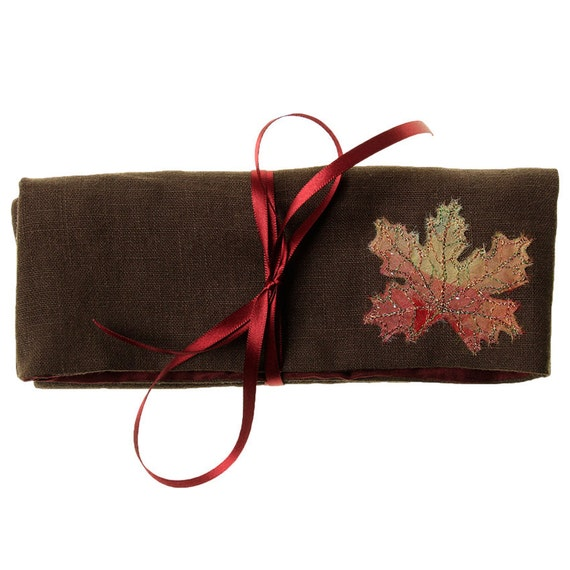 Autumn Leaf Jewellery Wrap Purse