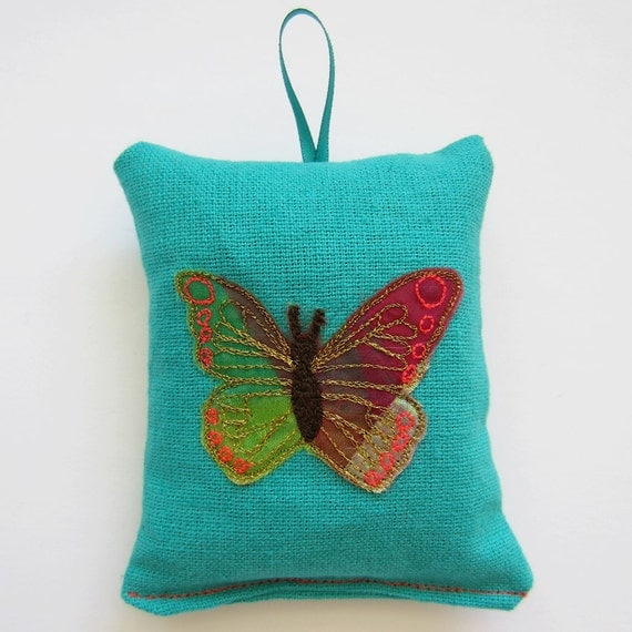Tropical Turquoise Butterfly Lavender Bag Sachet