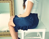 Silk Ruffled Black Pencil Skirt Sample Sale