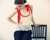 LAST ONE - SALE - Ivory French Lace Blouse with Red Silk Trims