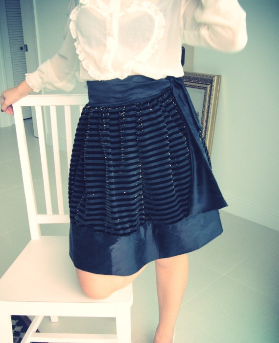 SALE - A Line Skirt Sample Sale Black Velvet Striped Metallic