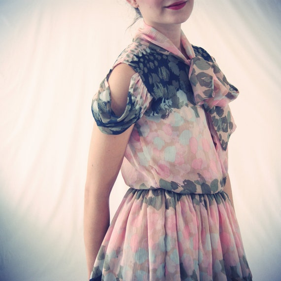 Paint Print Silk Chiffon A-Line Cotton Candy Dress in Pastel Tones