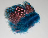 Blue and Pink Feather Hair Barrette - Guinea Feathers - Hair Clip - Colorful - Handmade