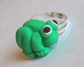 Green Frog Ring - Polymer Clay Animal Jewelry - Adjustable Ring - Handmade - Unique - Gifts Under 10, 15, 20, 15