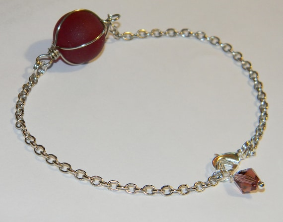 Red Wire Wrapped Sea Glass Marble Bracelet - Handmade Jewelry  - Swarovski Crystal - Lobster Clasp