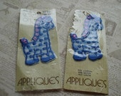 Vintage Sewing Treasures - Two Vintage Sew On Applique Decorative Patches - Baby Blue Giraffe