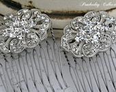 Rhinestone Hair Combs, Pair, Bridal Hair Comb