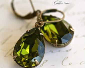 Olivine Swarovski Crystal Earrings, Vintage Style, Tear Drop Earrings, Green Earrings