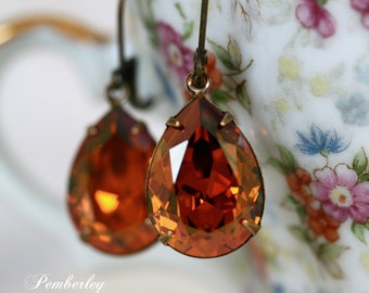 Copper Swarovski Crystal Earrings, Estate Style, Tear Drop, Pear Shape