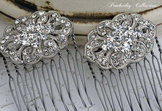 Rhinestone Hair Combs, Pair, Bridal Hair Comb