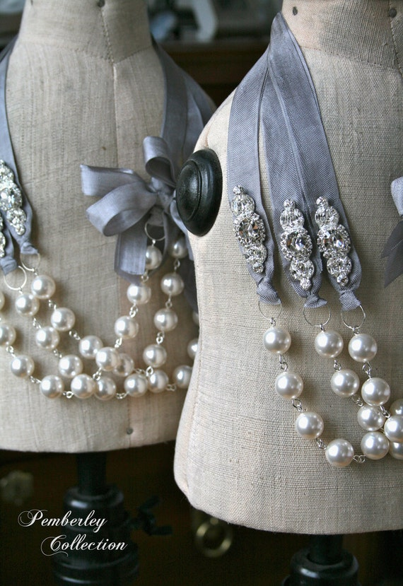 Ribbon Necklace, Pearl and Ribbon Necklace, Bridesmaid Necklace, Swarovski Pearl Necklace