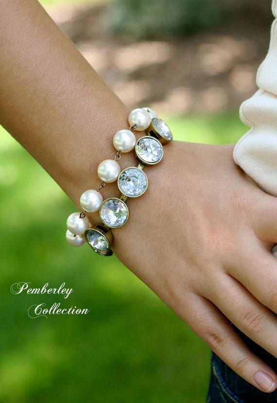 Reserved Listing for Leah, Bridesmaid Bracelets, Crystal & Swarovski Pearl Bracelets
