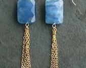Josephine Baker  Blue Chalcedony 14 kt Gold Tassell Earrings