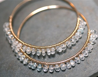 Gina Rock Candy Aquamarine 14 kt Gold Fill Large Hoops