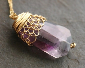 Helen of Troy Ombre Amethyst Nugget with 14 kt Gold Fill Fishnet Wire Long Necklace OOAK