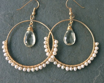 CATE Still Waters Green Amethyst Briolette and Freshwater Pearls 14 kt Gold Fill Large Hoops