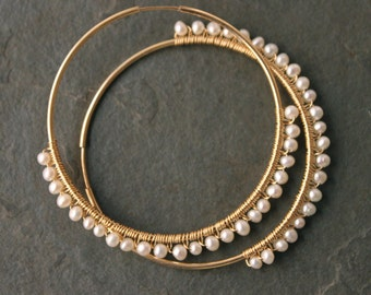 GINA My Fair Lady Freshwater Pearl 14 kt Gold Fill LargeHoops