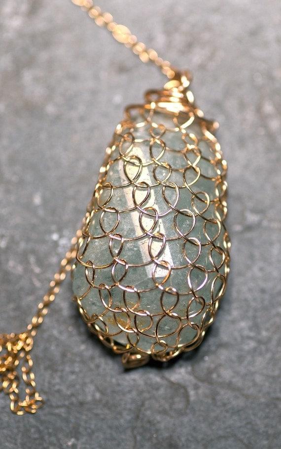 SALE Poseidon's Necklace, Quartz Encased in 14 kt gold filled Fishnet. Long Statement Necklace OOAK