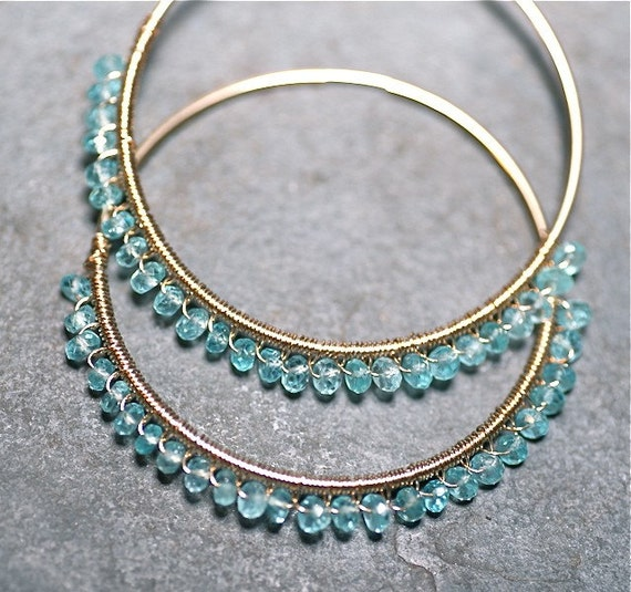 Lucy in the Sky Gina Hoops 14 kt Gold Fill & Sky Blue Apatite