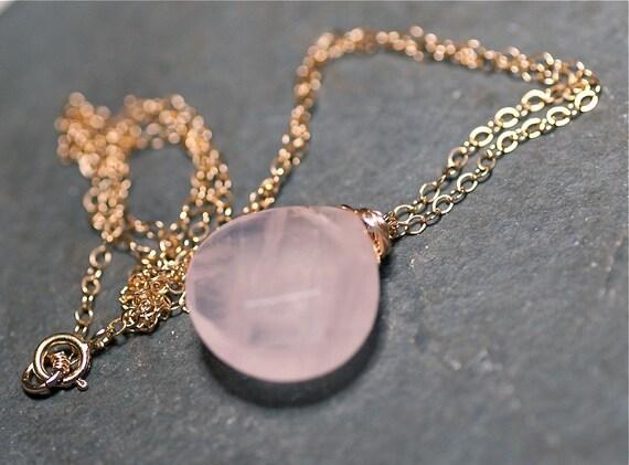 Rosebud Necklace Pale Pink Rose Quartz Briolette 14 kt Gold Fill Necklace.