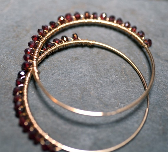 SALE Scarlett O'Hara GINA Hoops Deep Wine Colored Garnets & 14 kt Gold Fill