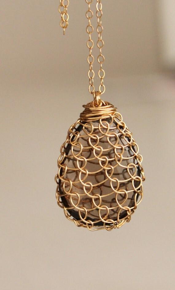 Smokey Quartz HoneyComb 14 Kt Gold Fill Necklace