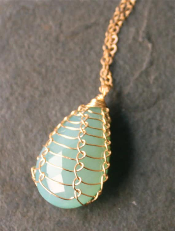 Mermaid Teardrops Blue Chalcedony Briolette 14 Kt Gold Fill Fishnet Weave Necklace