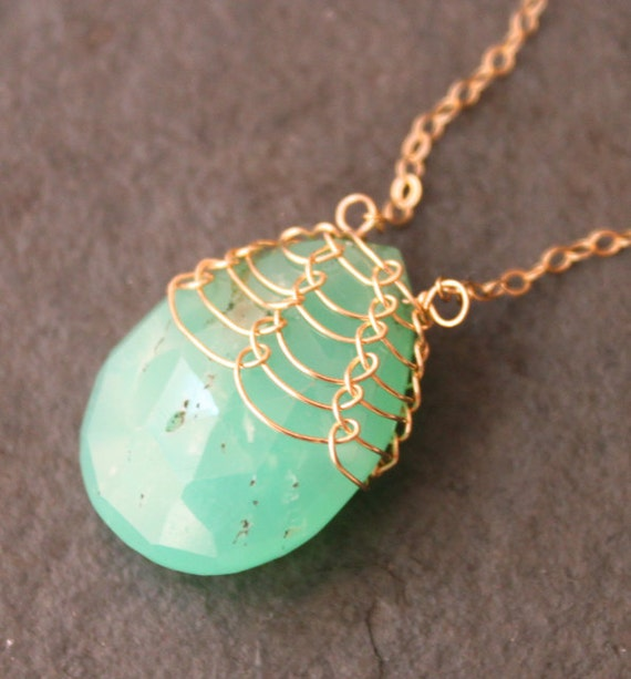 Green Dragon Scales Necklace Chrysoprase and 14 kt Gold Fill Fishnet Weave OOAK
