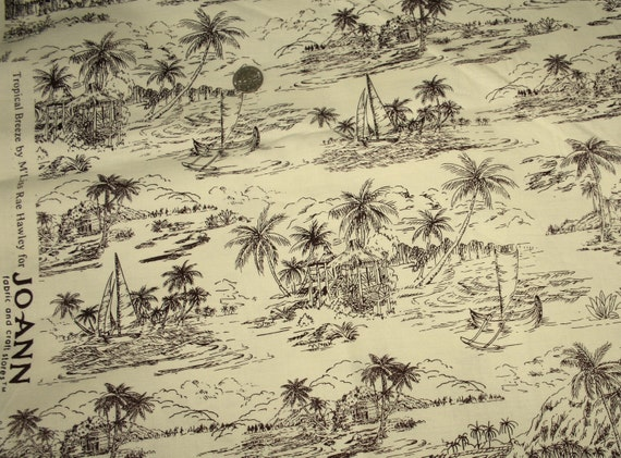 Toile-Tropical Breeze-sailboats, palm trees huts in a caribbean setting