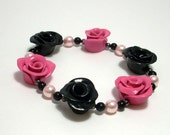 Black and Pink Rose Bracelet