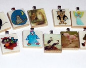 10 Scrabble Tile Pendants plus 1 FREE silver plated ball chain LOT 10 Going out of Business Sale