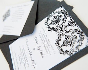 Sample - Elegant and Simple Damask Panel Wedding Invitation Suite in Classic Black and White or Your colors