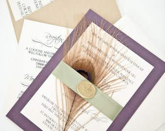 Sample - Eggplant Purple and Sage Green Real Golden Peacock Feather Wedding Invitation Suite with Golden Wax Seal
