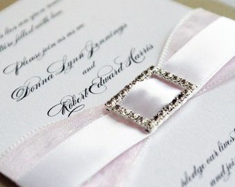 Wedding invitation Sample - Organza and Satin Double Ribbon Crystal Buckle, Sweet Sixteen or Bar Mitzvah  custom in your colors