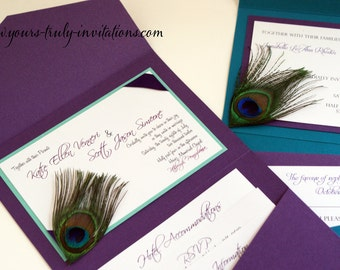 Sample - Custom Corner Peacock Feather Pocket Folder Wedding Invitation Suite Shown in Dark Purple, Dark turquoise blue, navy and green