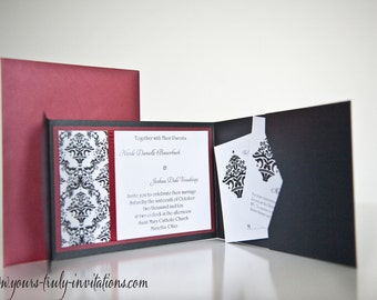 Damask Pocket Folder Wedding Invitation Suite in Deep Red and Black or custom in your colors