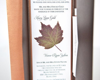 Maple Leaf Autumn Wedding Invitation Pocket Folder Suite