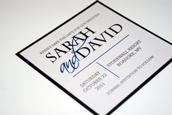Square Modern Save the Date Card in Black and Blue