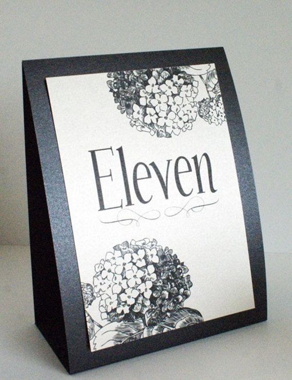 Black and Beige Hydrangea Standing Table Number