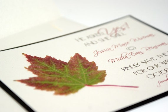 Sample - Rustic Fall  or Autumn Real Dried Maple Leaf Custom Save the Date Wedding Invitation Card