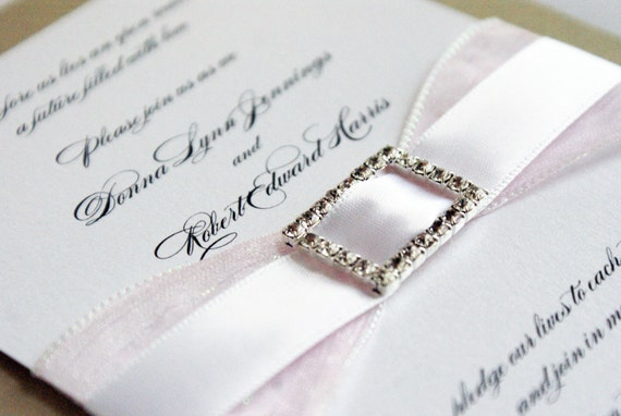 Double Ribbon Crystal Buckle Wedding Invitation Suite Personalized for you in your colors