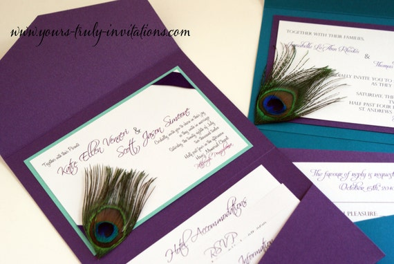 Peacock Feather Wedding Invitation: Sample Custom Corner Peacock Feather Pocket Folder Wedding